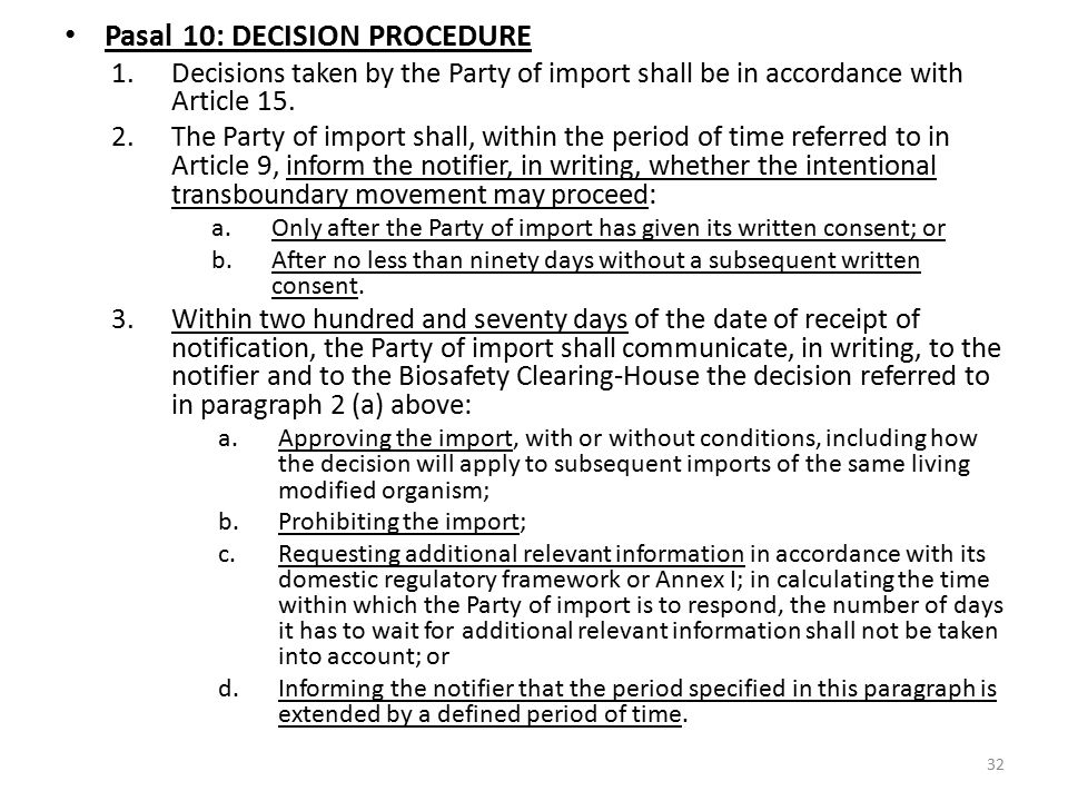 Pasal 10: DECISION PROCEDURE