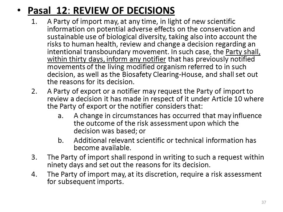Pasal 12: REVIEW OF DECISIONS