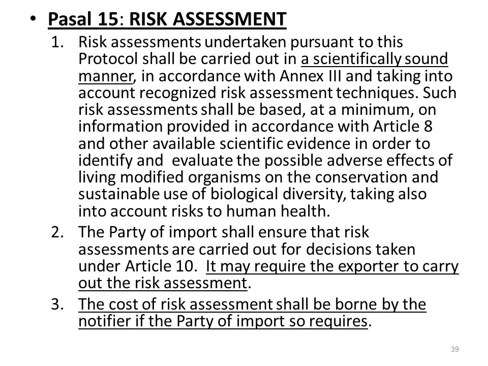 Pasal 15: RISK ASSESSMENT