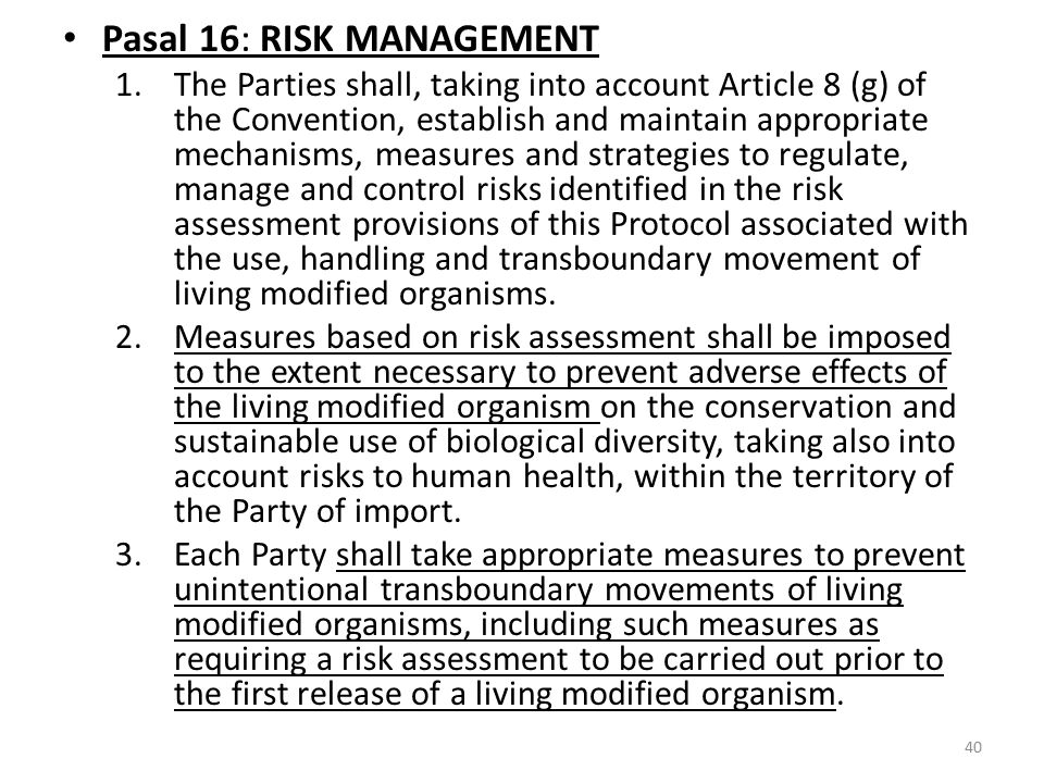 Pasal 16: RISK MANAGEMENT