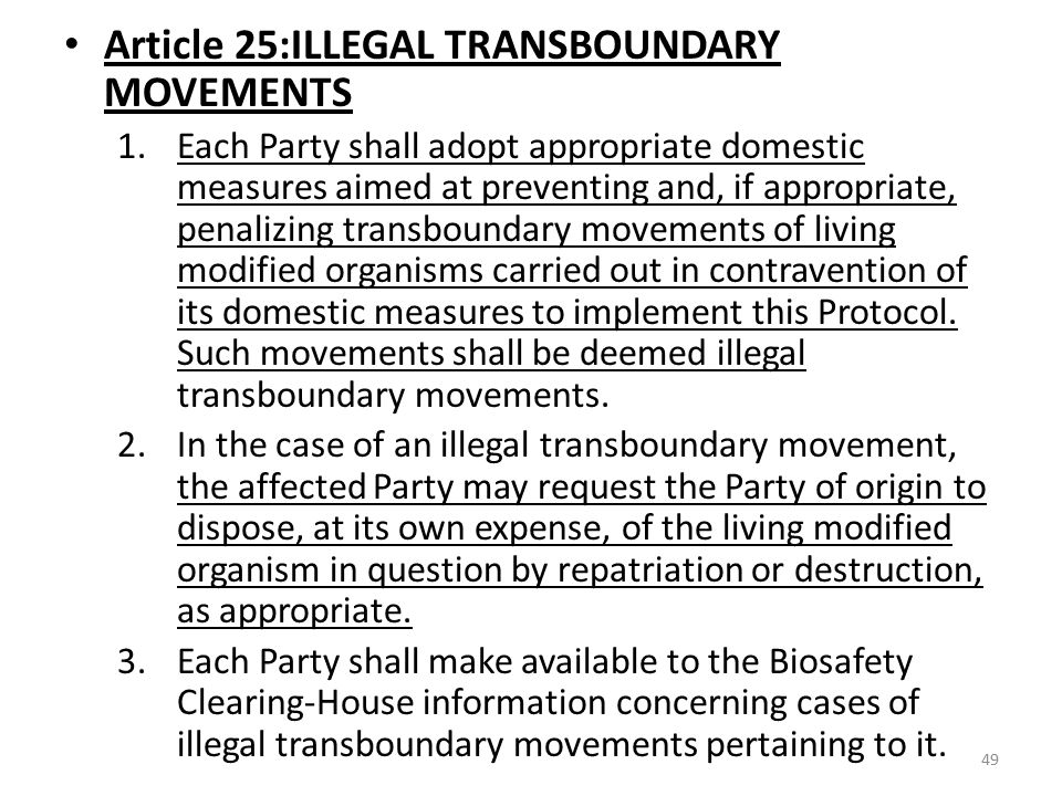 Article 25:ILLEGAL TRANSBOUNDARY MOVEMENTS