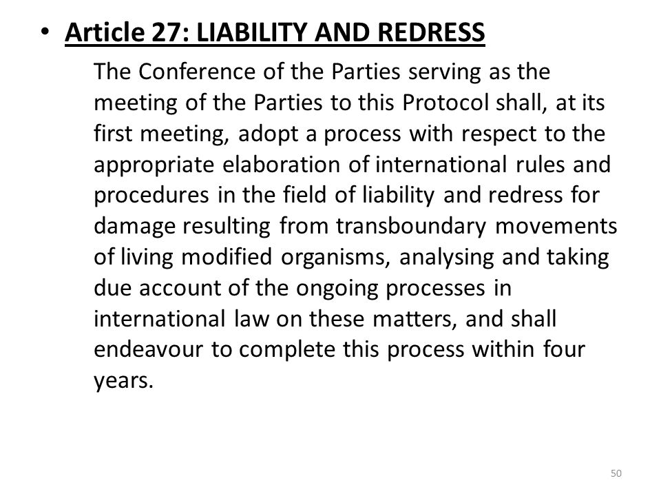 Article 27: LIABILITY AND REDRESS