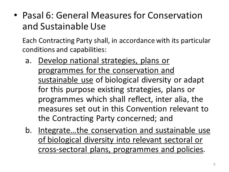 Pasal 6: General Measures for Conservation and Sustainable Use
