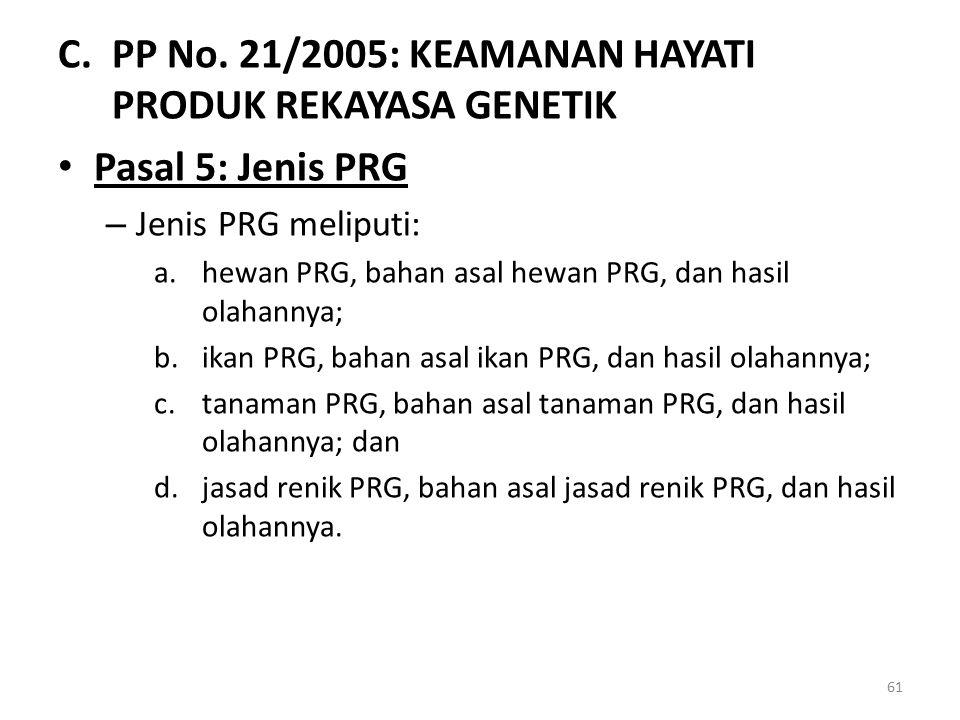 PP No. 21/2005: KEAMANAN HAYATI PRODUK REKAYASA GENETIK