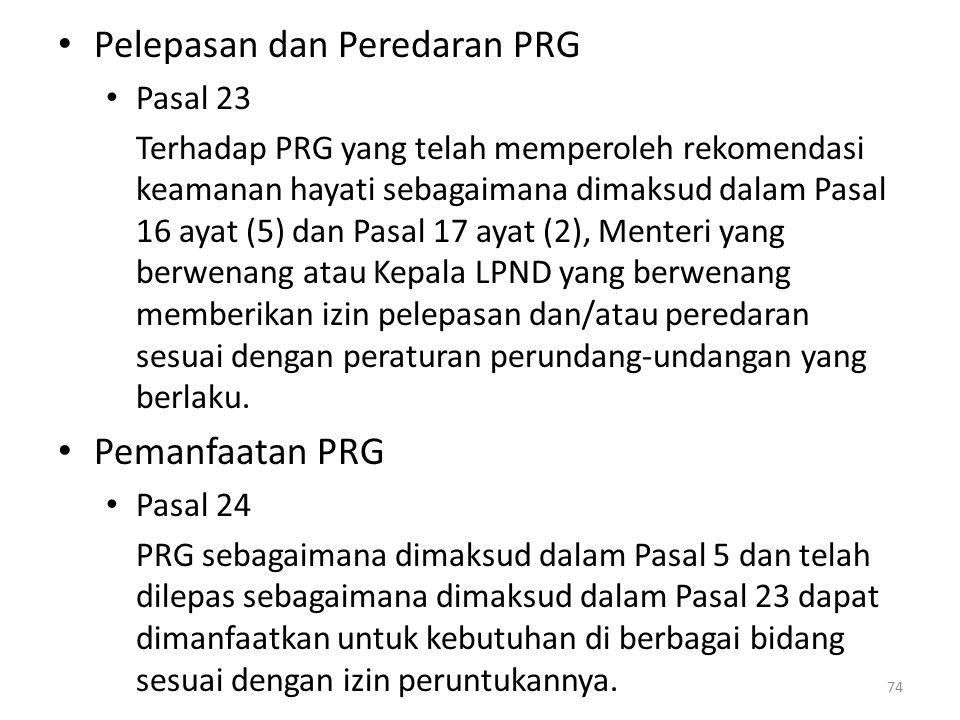 Pelepasan dan Peredaran PRG