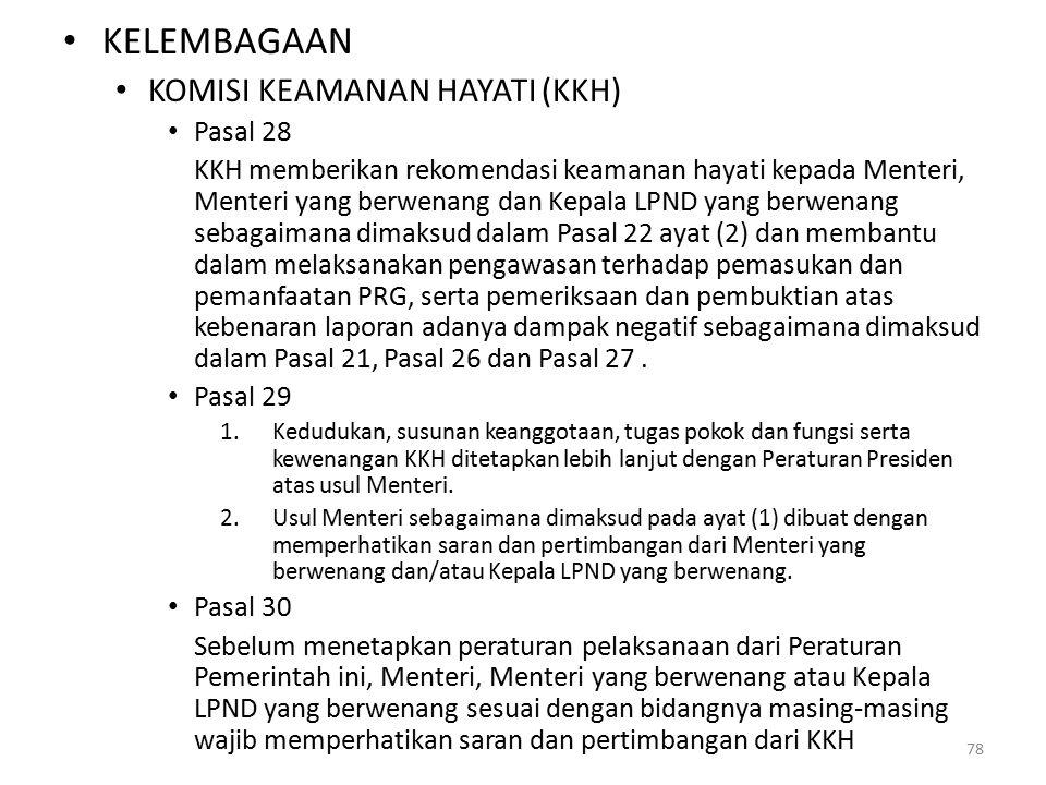 KELEMBAGAAN KOMISI KEAMANAN HAYATI (KKH) Pasal 28