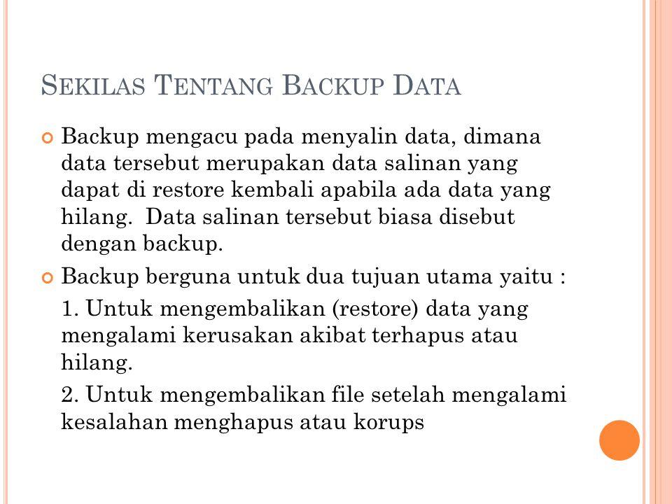 Sekilas Tentang Backup Data