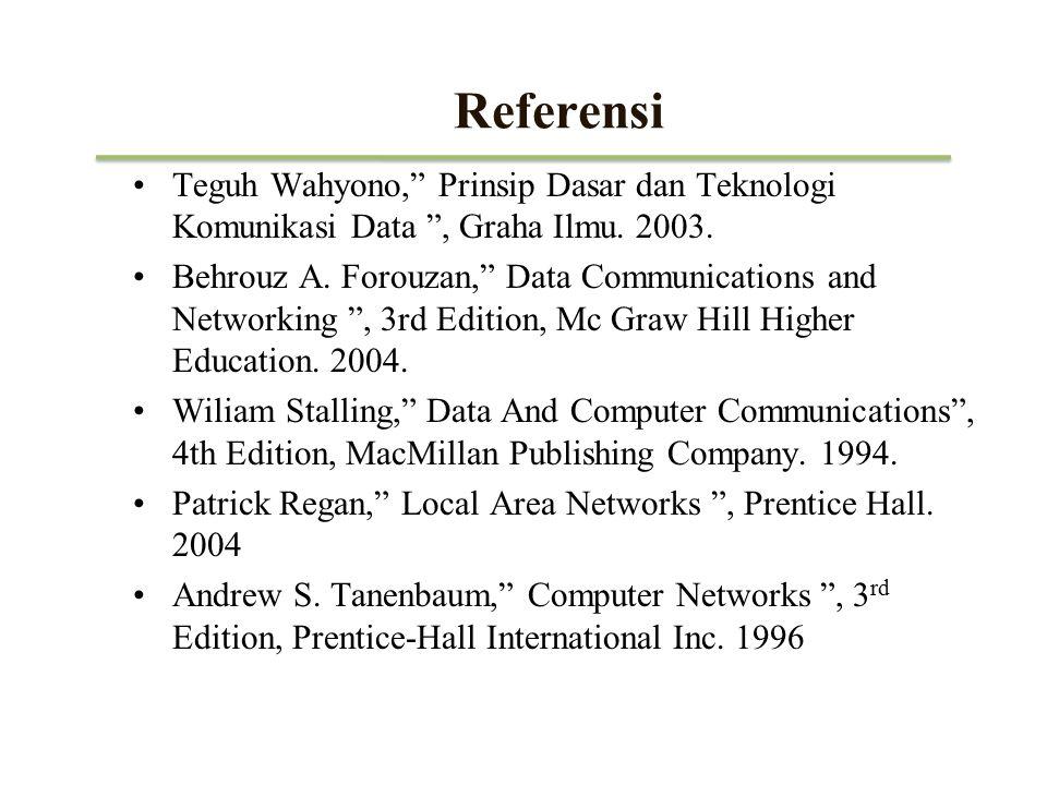 Referensi Teguh Wahyono, Prinsip Dasar dan Teknologi Komunikasi Data , Graha Ilmu. 2003.