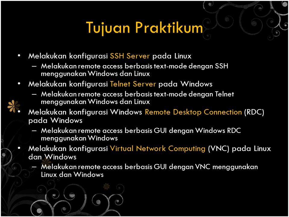 Tujuan Praktikum Melakukan konfigurasi SSH Server pada Linux