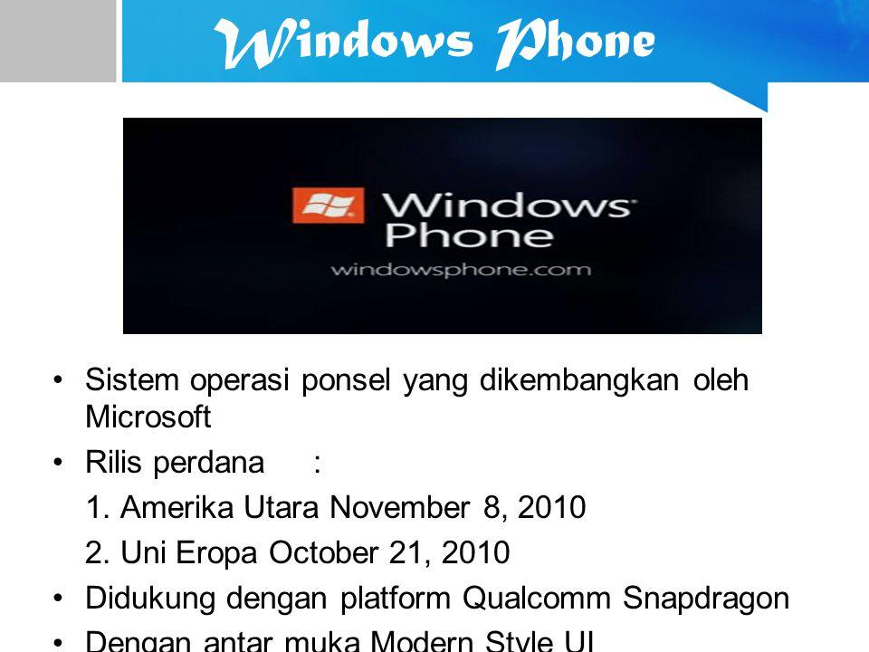 Windows Phone Sistem operasi ponsel yang dikembangkan oleh Microsoft