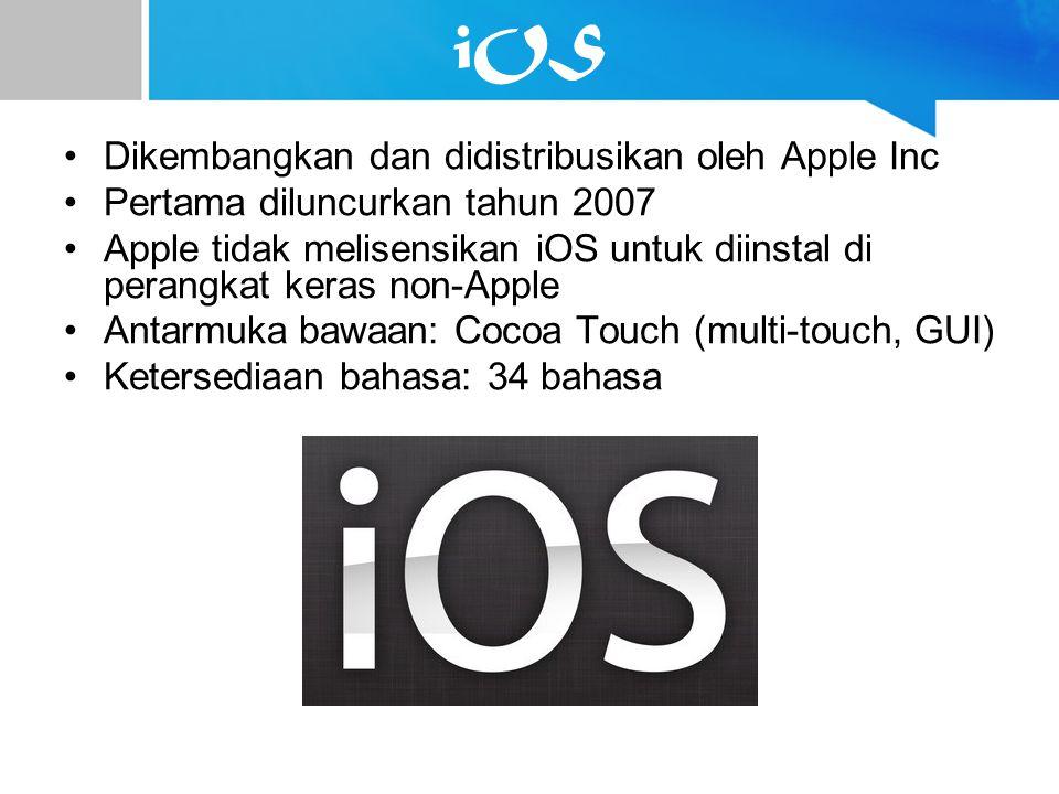 iOS Dikembangkan dan didistribusikan oleh Apple Inc