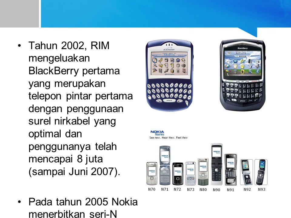 Tahun 2002, RIM mengeluakan BlackBerry pertama yang merupakan telepon pintar pertama dengan penggunaan surel nirkabel yang optimal dan penggunanya telah mencapai 8 juta (sampai Juni 2007).