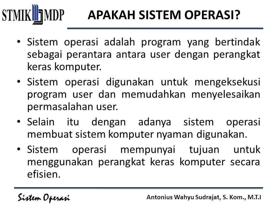 APAKAH SISTEM OPERASI Sistem operasi adalah program yang bertindak sebagai perantara antara user dengan perangkat keras komputer.