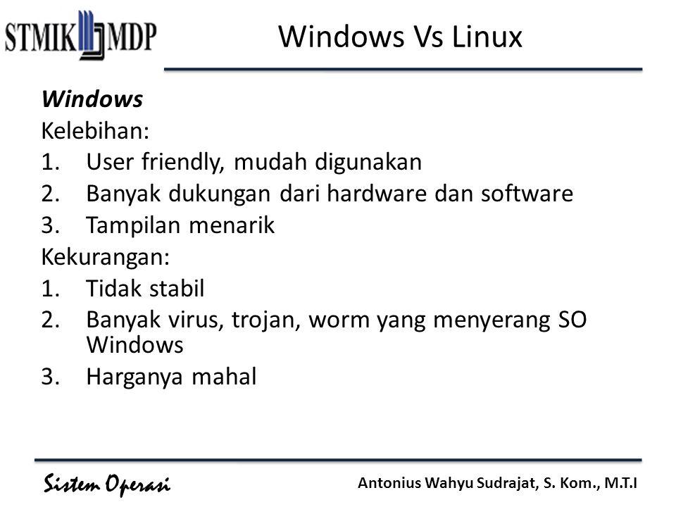 Windows Vs Linux Windows Kelebihan: User friendly, mudah digunakan