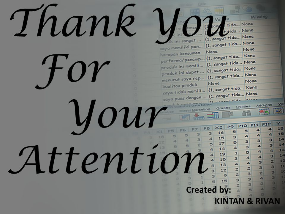 Thank You For Your Attention Created by: KINTAN & RIVAN
