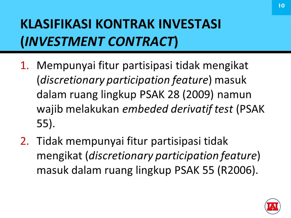 KLASIFIKASI KONTRAK INVESTASI (INVESTMENT CONTRACT)