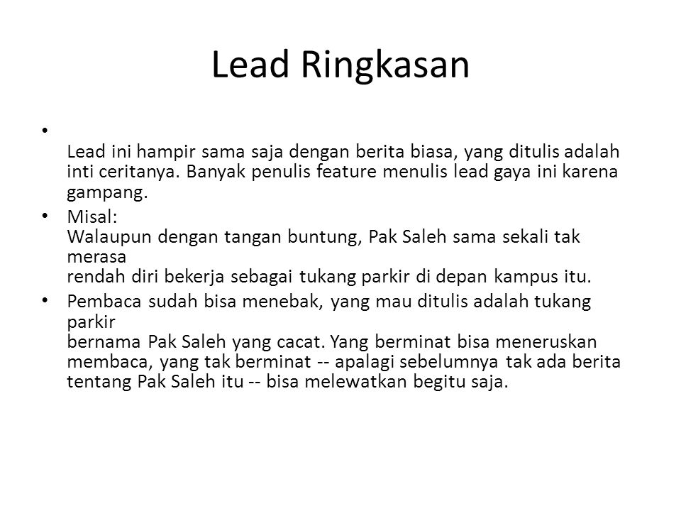 Lead Ringkasan