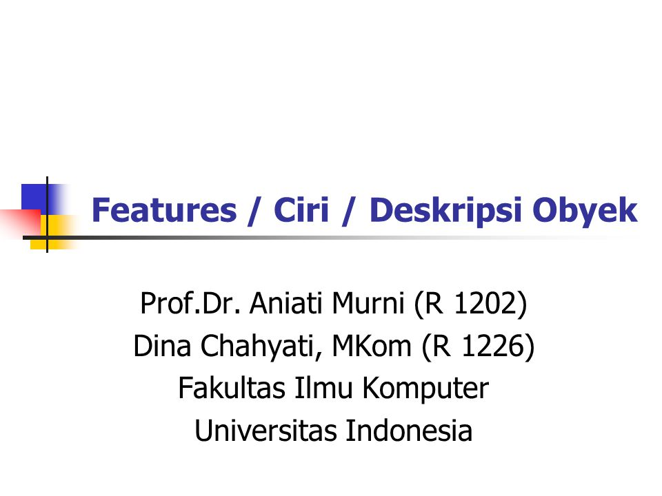 Features / Ciri / Deskripsi Obyek