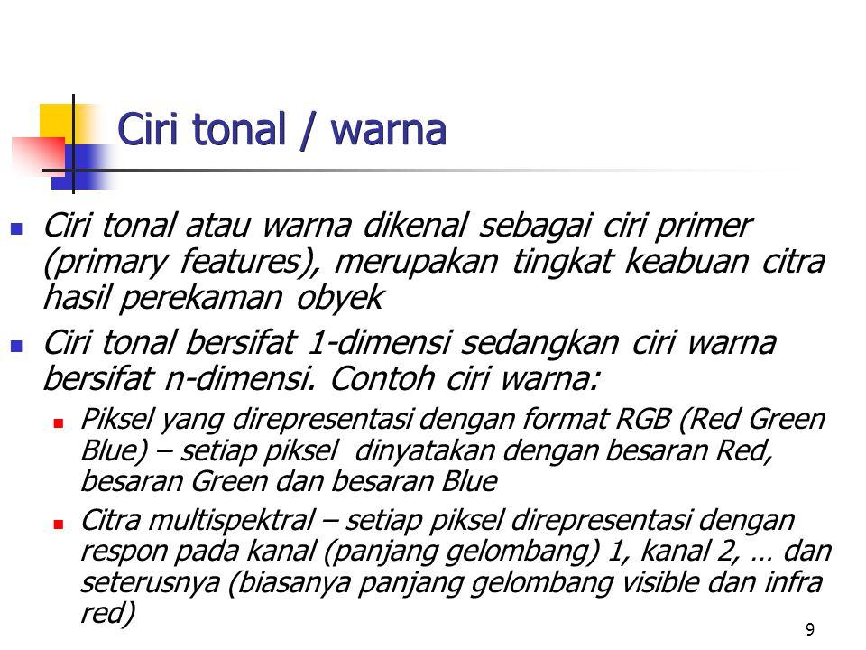 Ciri tonal / warna Ciri tonal atau warna dikenal sebagai ciri primer (primary features), merupakan tingkat keabuan citra hasil perekaman obyek.