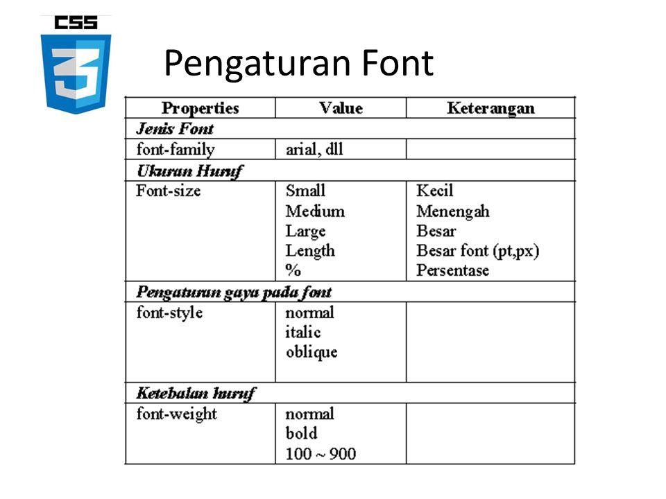 Pengaturan Font