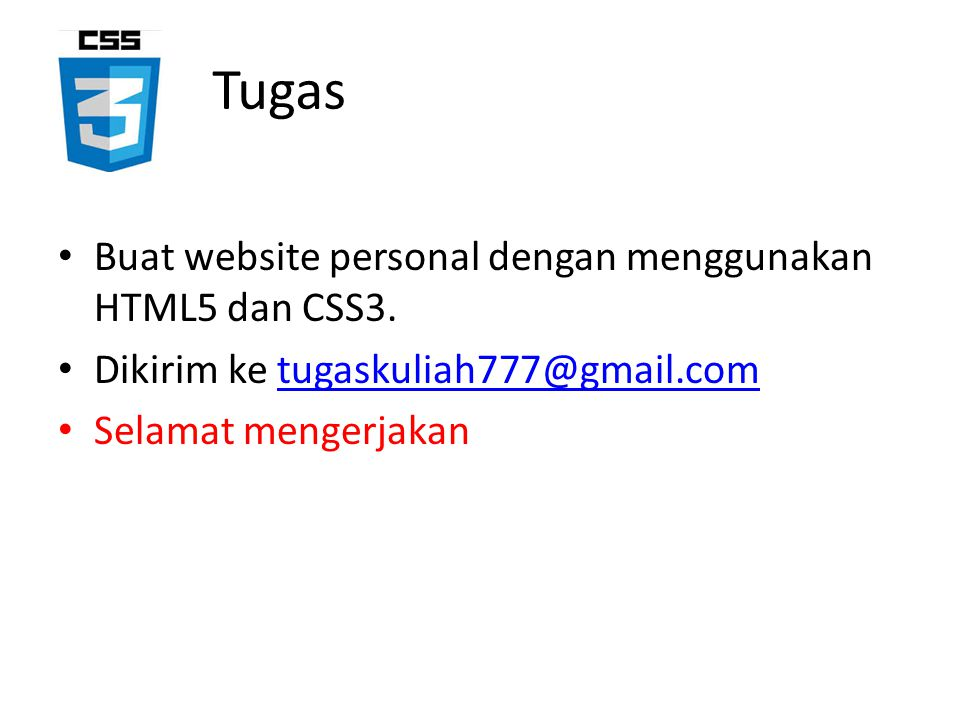 Tugas Buat website personal dengan menggunakan HTML5 dan CSS3.