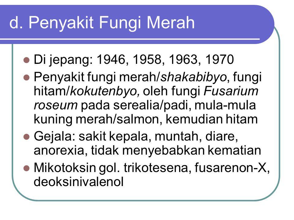 d. Penyakit Fungi Merah Di jepang: 1946, 1958, 1963, 1970