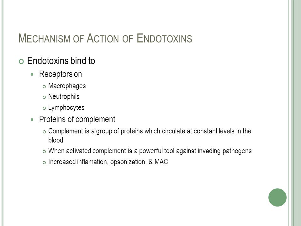 Mechanism of Action of Endotoxins