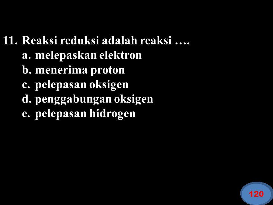 11. Reaksi reduksi adalah reaksi …. a. melepaskan elektron