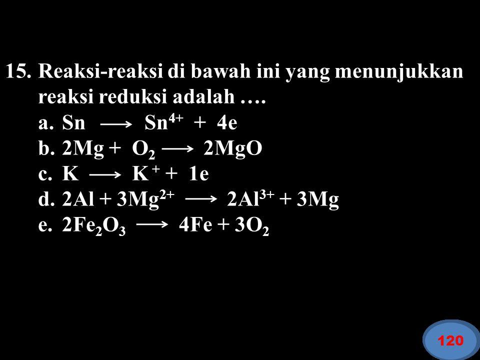 Reaksi-reaksi di bawah ini yang menunjukkan reaksi reduksi adalah ….