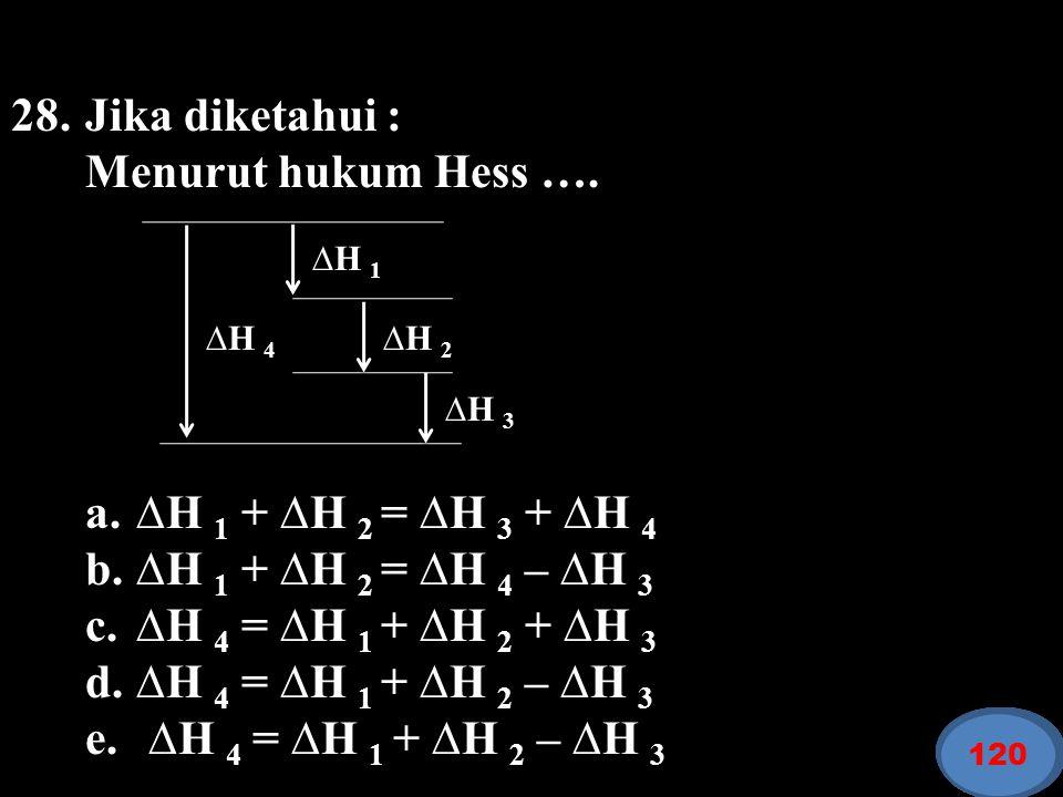 28. Jika diketahui : Menurut hukum Hess ….