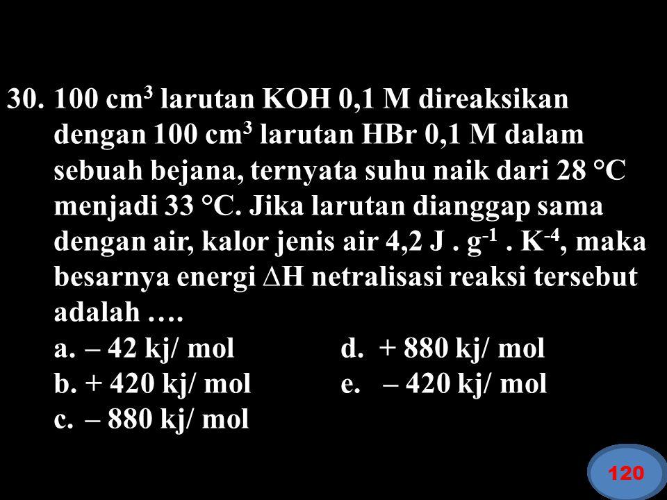 30. 100 cm3 larutan KOH 0,1 M direaksikan dengan 100 cm3 larutan HBr 0,1 M dalam sebuah bejana, ternyata suhu naik dari 28 °C menjadi 33 °C. Jika larutan dianggap sama dengan air, kalor jenis air 4,2 J . g-1 . K-4, maka besarnya energi ∆H netralisasi reaksi tersebut