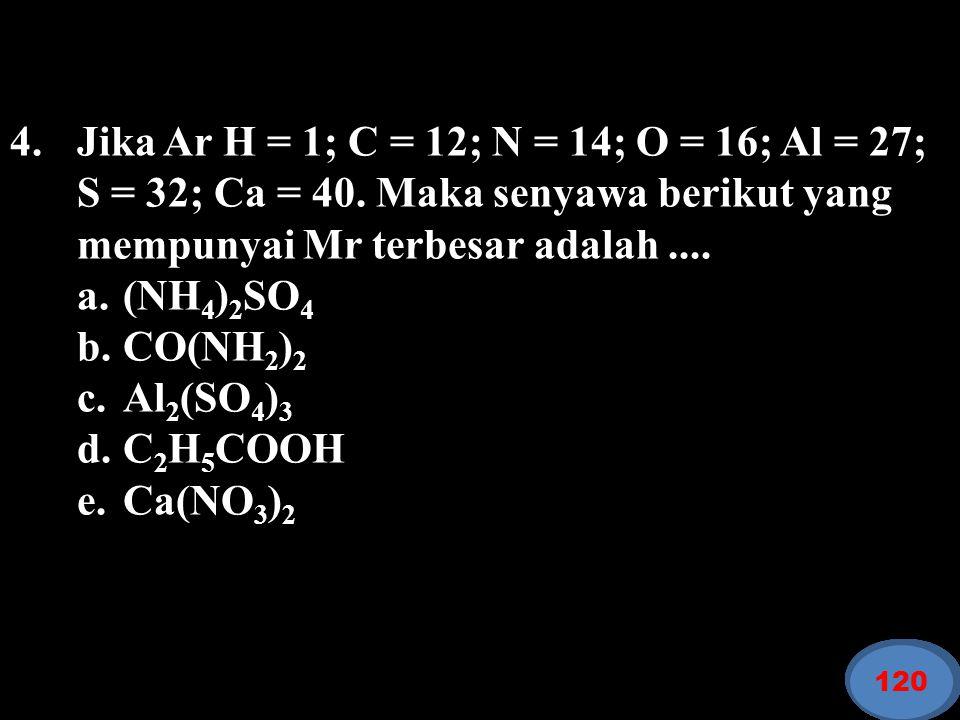 4. Jika Ar H = 1; C = 12; N = 14; O = 16; Al = 27; S = 32; Ca = 40