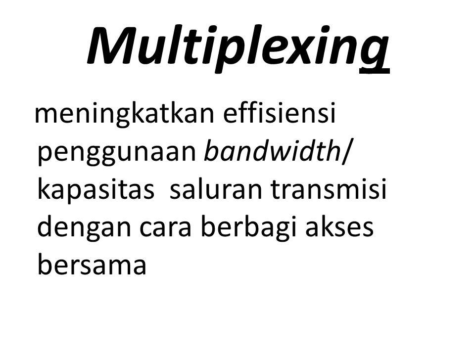Multiplexing meningkatkan effisiensi penggunaan bandwidth/ kapasitas saluran transmisi dengan cara berbagi akses bersama.