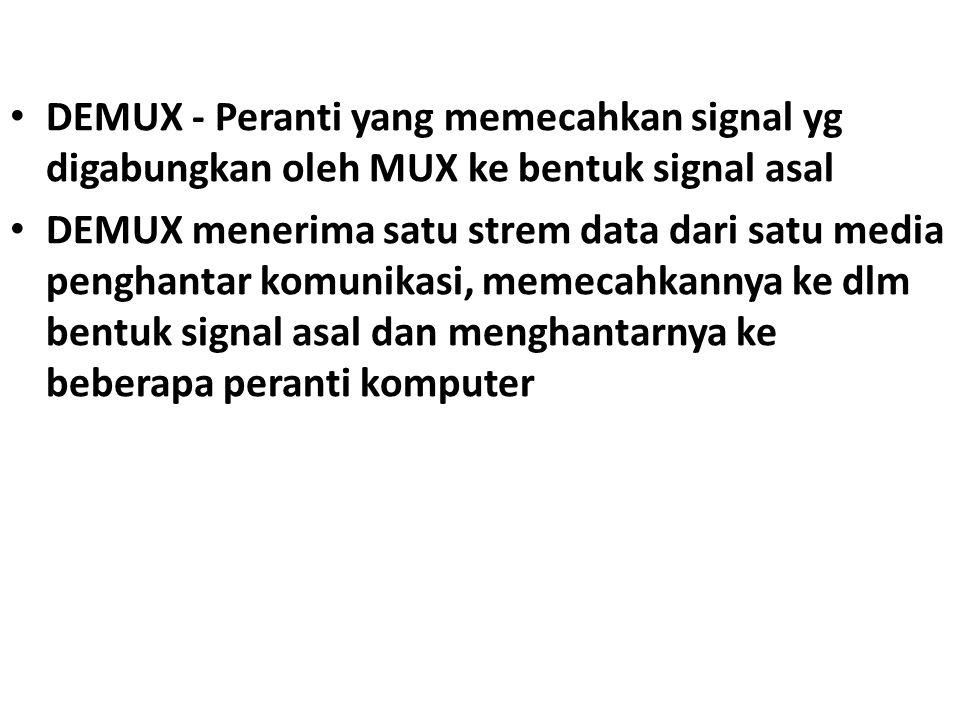 DEMUX - Peranti yang memecahkan signal yg digabungkan oleh MUX ke bentuk signal asal