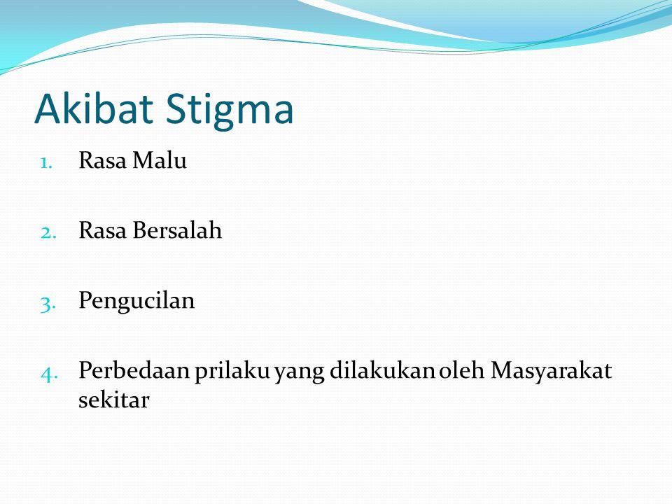 Akibat Stigma Rasa Malu Rasa Bersalah Pengucilan