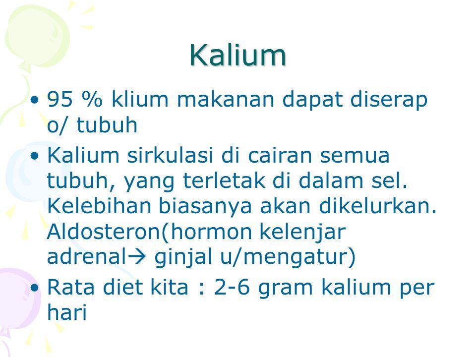 Kalium 95 % klium makanan dapat diserap o/ tubuh