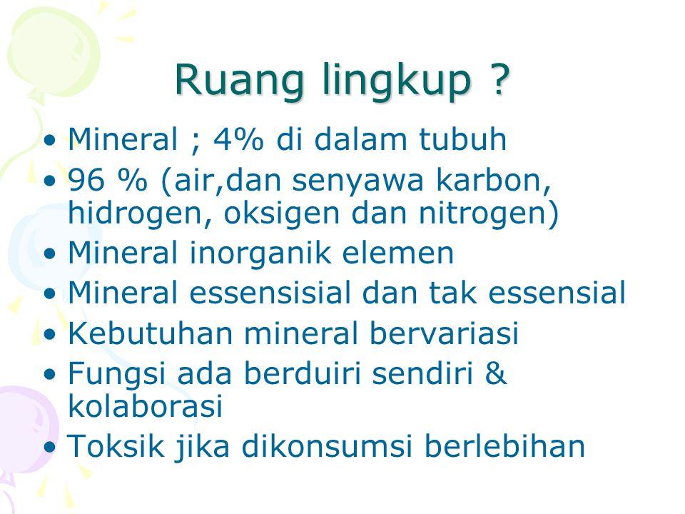 Ruang lingkup Mineral ; 4% di dalam tubuh
