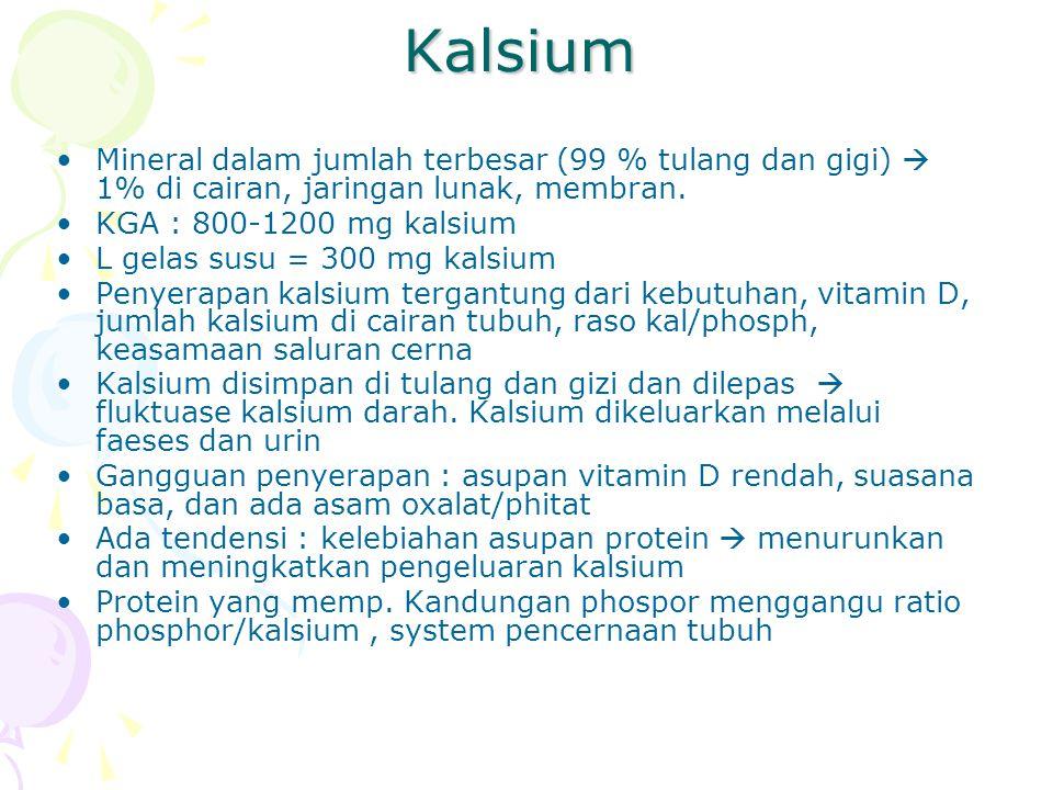 Kalsium Mineral dalam jumlah terbesar (99 % tulang dan gigi)  1% di cairan, jaringan lunak, membran.