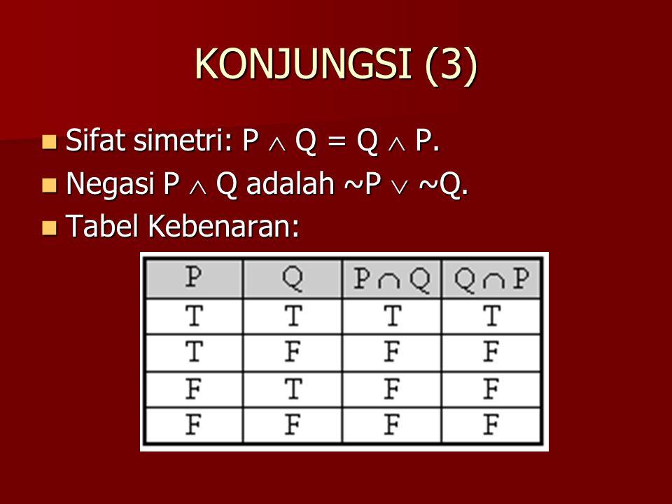KONJUNGSI (3) Sifat simetri: P  Q = Q  P.