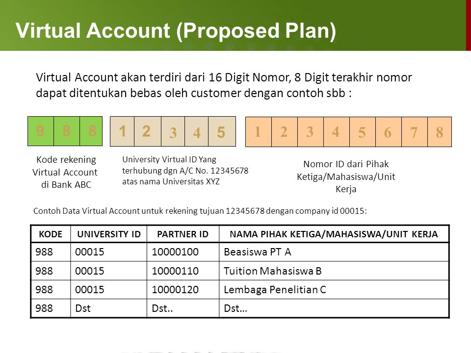 Virtual Account (Proposed Plan)
