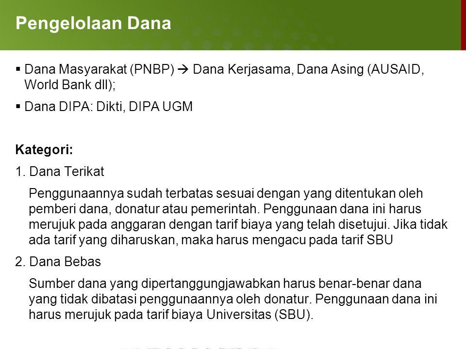 Pengelolaan Dana Dana Masyarakat (PNBP)  Dana Kerjasama, Dana Asing (AUSAID, World Bank dll); Dana DIPA: Dikti, DIPA UGM.