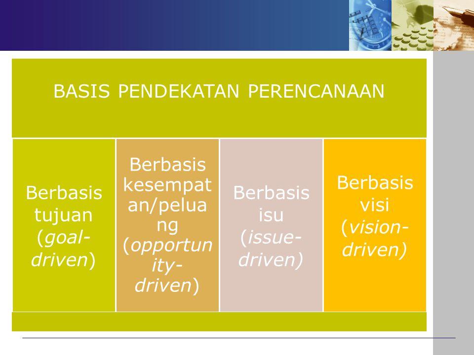 BASIS PENDEKATAN PERENCANAAN Berbasis tujuan (goal-driven)