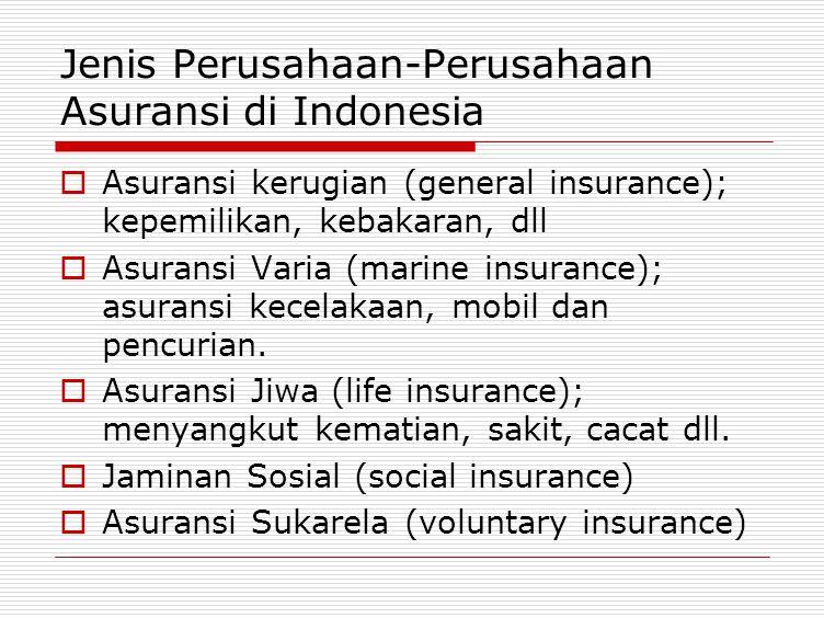 Jenis Perusahaan-Perusahaan Asuransi di Indonesia