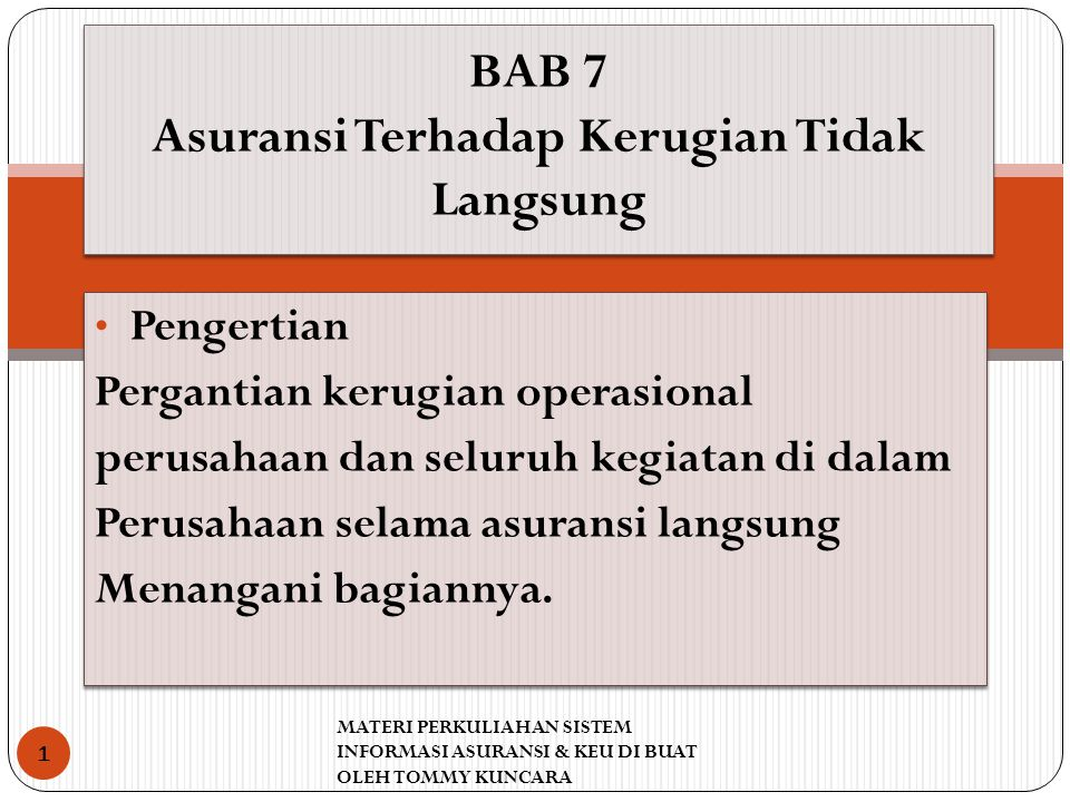BAB 7 Asuransi Terhadap Kerugian Tidak Langsung