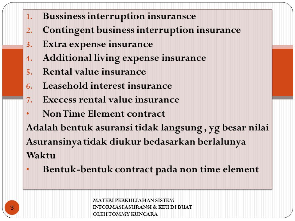 Bussiness interruption insuransce
