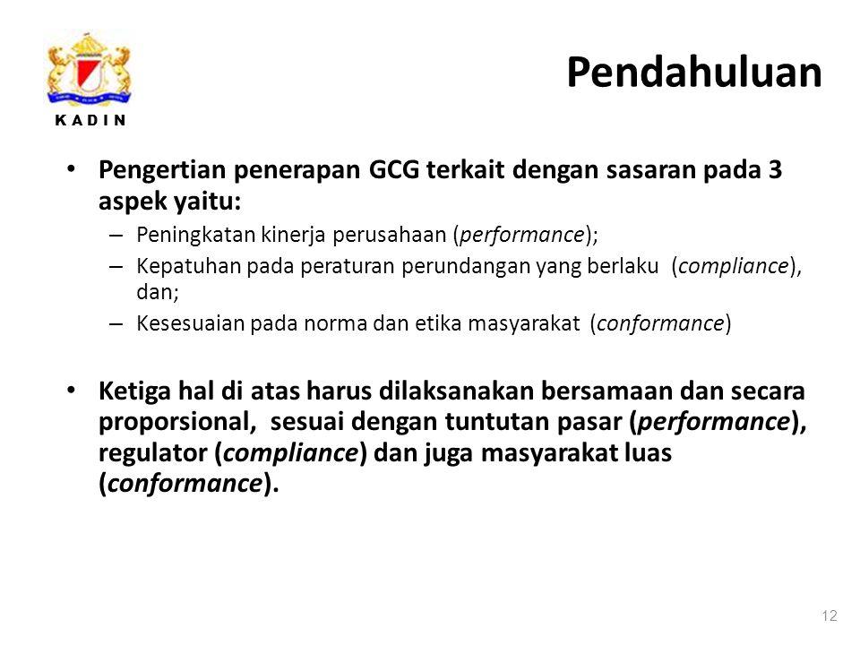 Pendahuluan Pengertian penerapan GCG terkait dengan sasaran pada 3 aspek yaitu: Peningkatan kinerja perusahaan (performance);