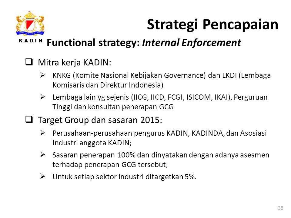 Strategi Pencapaian Functional strategy: Internal Enforcement