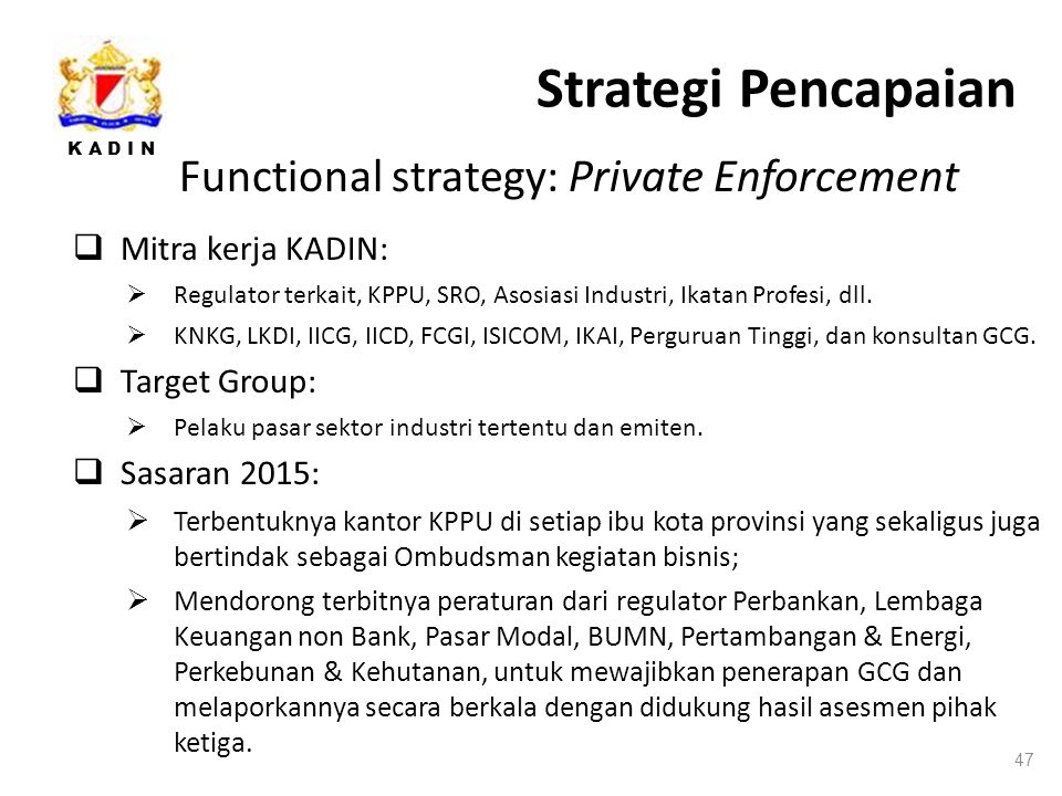 Strategi Pencapaian Functional strategy: Private Enforcement