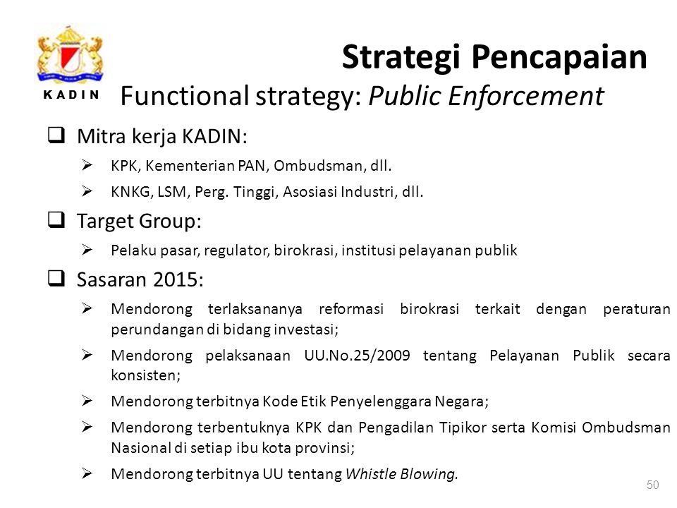 Strategi Pencapaian Functional strategy: Public Enforcement