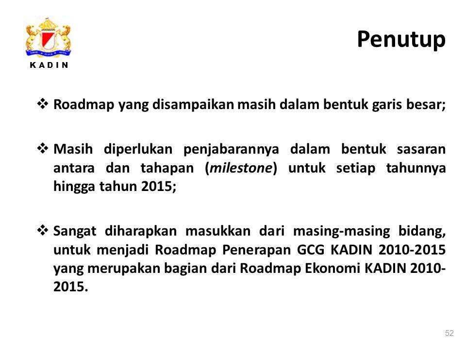 Penutup Roadmap yang disampaikan masih dalam bentuk garis besar;